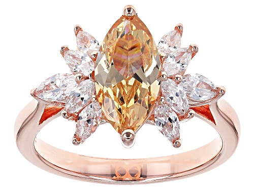 Photo of Bella Luce® 3.10ctw Champagne & White Diamond Simulant Marquise Eterno™ Rose Ring (2.70ctw Dew) - Size 12