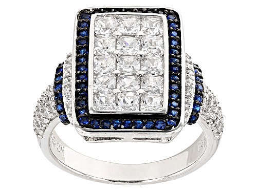 Photo of Bella Luce ® 3.46ctw Blue Sapphire And White Diamond Simulants Rhodium Over Sterling Silver Ring - Size 5