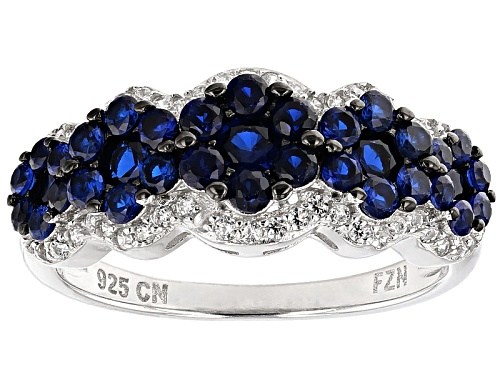 Photo of Bella Luce ® 1.69ctw Blue Sapphire And White Diamond Simulants Rhodium Over Sterling Silver Ring - Size 11