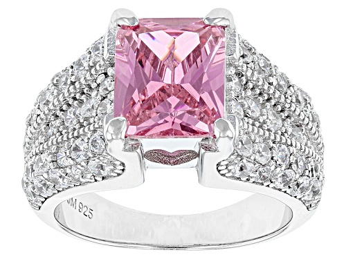 Bella Luce®6.50ctw Pink And White Diamond Simulants Rhodium Over Sterling Silver Ring(4.60ctw Dew) - Size 11