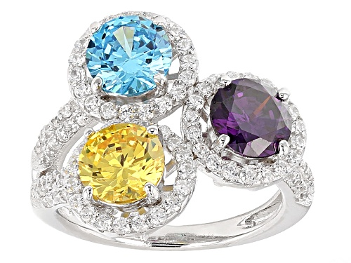 Photo of Bella Luce ® 5.13ctw Multicolor Gemstone Simulants Rhodium Over Sterling Silver Ring - Size 7