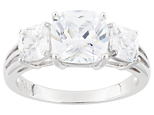 Photo of Bella Luce ® 5.43ctw White Diamond Simulant Rhodium Over Sterling Silver 3 Stone Ring (4.43tw Dew) - Size 10
