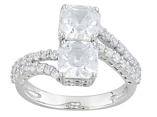 Photo of Bella Luce ® 5.52ctw White Diamond Simulant Rhodium Over Sterling Silver Ring (3.93ctw Dew) - Size 11