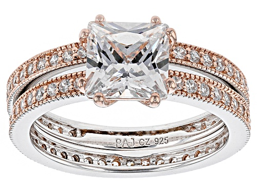 Photo of Bella Luce ® 4.03ctw Diamond Simulant Rhodium Over Sterling & Eterno ™ Rose Ring With Band - Size 9