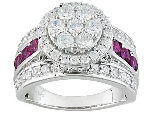 Photo of Bella Luce ® 3.43ctw Diamond Simulant & Lab Created Ruby Rhodium Over Sterling Silver Ring - Size 10