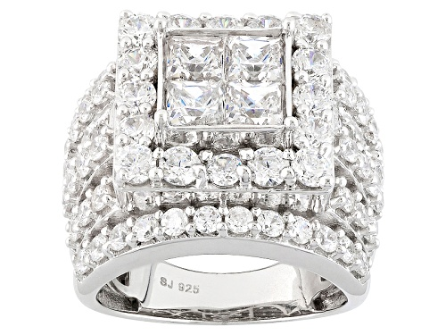 Photo of Bella Luce ® 9.69ctw Diamond Simulant Rhodium Over Sterling Silver Ring (4.03ctw Dew) - Size 5