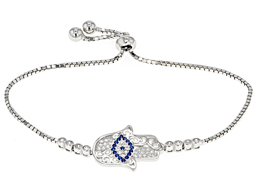 Photo of Bella Luce®.46ctw Lab Blue Spinel And Diamond Simulant Rhodium Over Silver Adjustable Bracelet