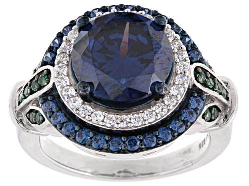 Bella Luce ® 7.68ctw Sapphire, Emerald & White Diamond Simulants Rhodium Over Sterling Silver Ring - Size 10