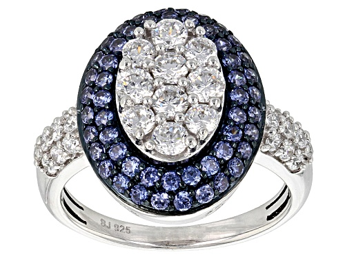 Photo of Bella Luce ® 3.43ctw Sapphire & White Diamond Simulants Rhodium Over Sterling Silver Ring - Size 12