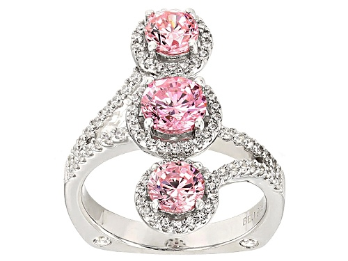Photo of Bella Luce ®4.07ctw Pink & White Diamond Simulant Rhodium Over Sterling Silver Ring (2.45ctw Dew) - Size 5