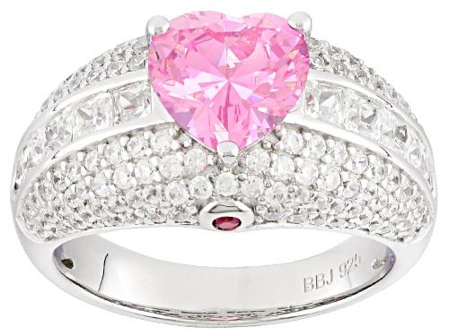 Photo of Bella Luce®5.81ctw Pink/Wht Diamond& Lab Created Ruby Simulants Rhodium Over Silver Heart Ring - Size 10