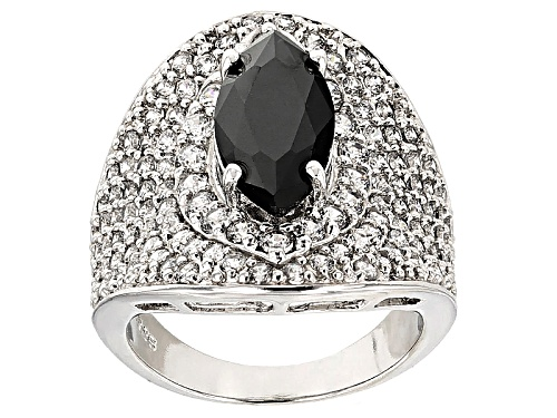 Photo of Bella Luce®7.60ctw Black & White Diamond Simulants Rhodium Over Sterling Silver Ring (4.52ctw Dew) - Size 5