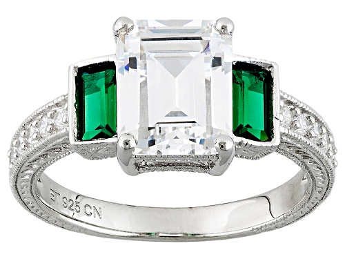 Photo of Bella Luce ® 4.65ctw Emerald And White Diamond Simulants Rhodium Over Sterling Silver Ring - Size 11