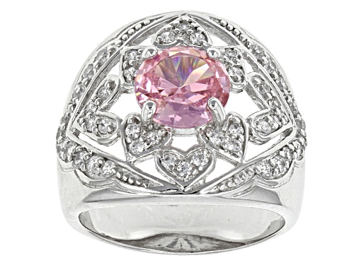 Photo of Bella Luce ® 4.26ctw Pink & White Diamond Simulants Rhodium Over Sterling Silver Ring (2.6ctw Dew) - Size 7