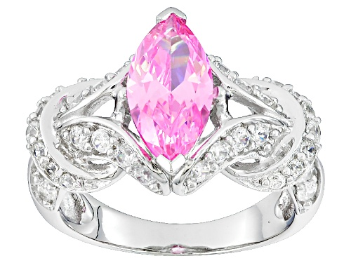 Photo of Bella Luce® 2.43ctw Pink & White Diamond Simulants Rhodium Over Sterling Silver Ring (2.13ctw Dew) - Size 8