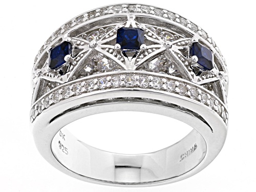 Photo of Bella Luce ® 3.00ctw Sapphire And White Diamond Simulants Rhodium Over Sterling Silver Ring - Size 8