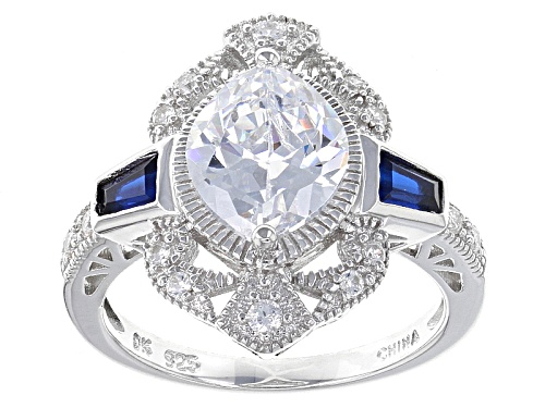 Photo of Bella Luce ® 3.94ctw Sapphire And White Diamond Simulants Rhodium Over Sterling Silver Ring - Size 5