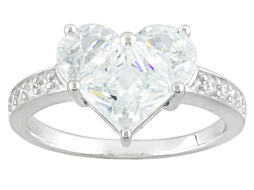 Photo of Bella Luce ® 2.80ctw Diamond Simulant Rhodium Over Sterling Silver Heart Ring - Size 10