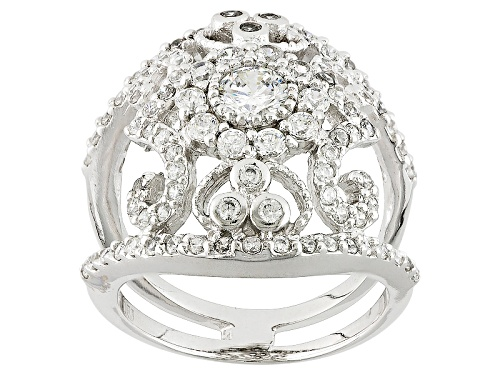 Photo of Bella Luce ® 2.30ctw White Diamond Simulant Rhodium Over Sterling Silver Ring (1.25ctw Dew) - Size 7