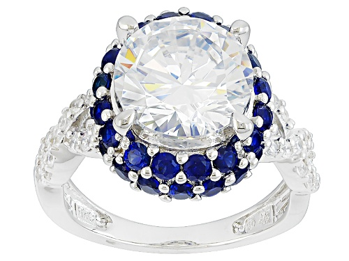 Photo of Bella Luce ® 8.23ctw Diamond Simulant & Lab Created Sapphire Rhodium Over Sterling Silver Ring - Size 12