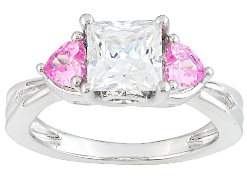 Bella Luce ® 3.51ctw White And Pink Diamond Simulant Rhodium Over Silver Heart Ring (2.09ctw Dew) - Size 12
