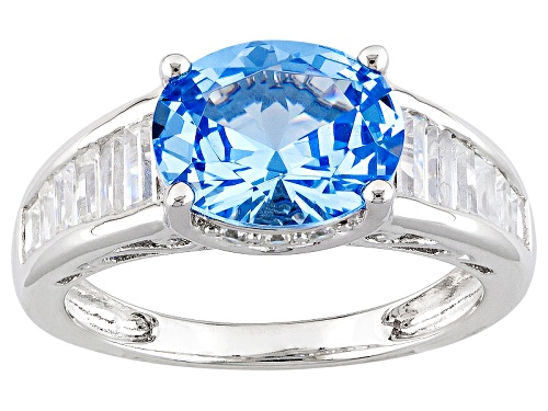 Photo of Bella Luce ® 3.30ctw Lab Created Blue Spinel And White Diamond Simulant Rhodium Over Silver Ring - Size 7