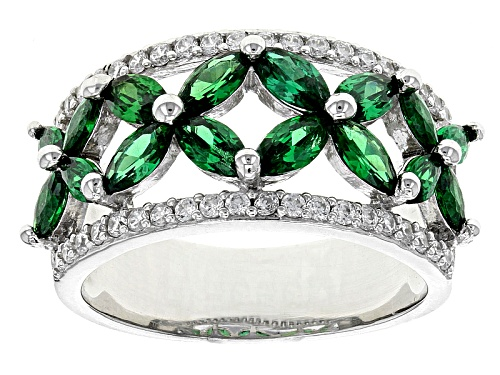 Photo of Bella Luce ® 3.28ctw Emerald And White Diamond Simulants Rhodium Over Sterling Silver Ring - Size 9