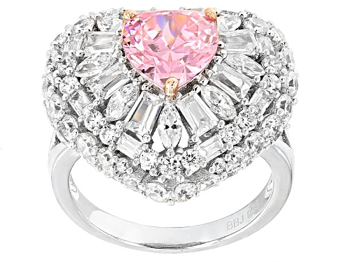 Photo of Bella Luce ®9.36ctw Pink And White Diamond Simulants Rhodium Over Silver Heart Ring (5.67ctw Dew) - Size 5
