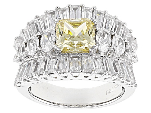 Photo of Bella Luce®8.32ctw Canary & White Diamond Simulants Rhodium Over Sterling Silver Ring(6.42ctw Dew) - Size 7