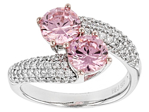 Photo of Bella Luce ®4.40ctw Pink & White Diamond Simulants Rhodium Over Sterling Silver Ring (2.88ctw Dew) - Size 8