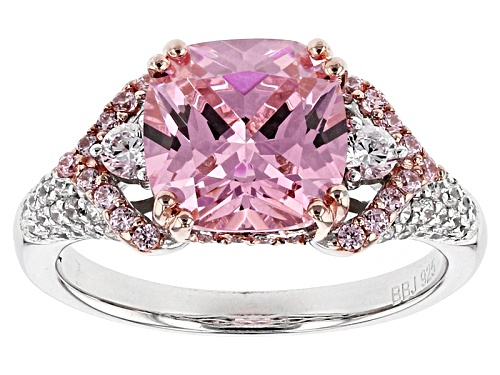 Photo of Bella Luce ® 5.65ctw Pink & White Diamond Simulants Rhodium Over Sterling Ring (3.32ctw Dew) - Size 11