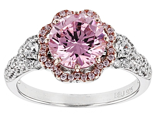 Photo of Bella Luce® 4.07ctw Pink & White Diamond Simulants Rhodium Over Sterling Silver Ring (2.62ctw Dew) - Size 11
