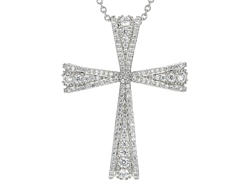 Photo of Bella Luce ® 2.05ctw White Diamond Simulant Rhodium Over Silver Cross Pendant With Chain