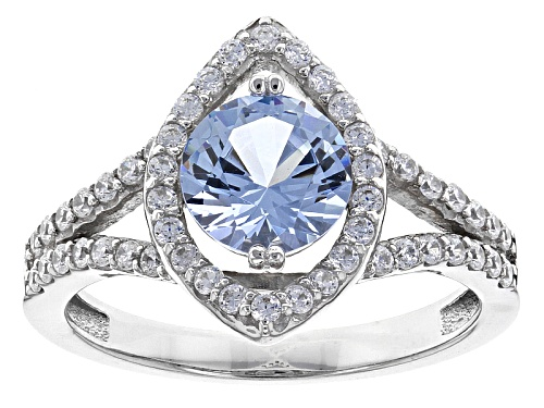 Photo of Bella Luce® 2.16ctw Lab Created Blue Spinel And White Diamond Simulant Rhodium Over Silver Ring - Size 9