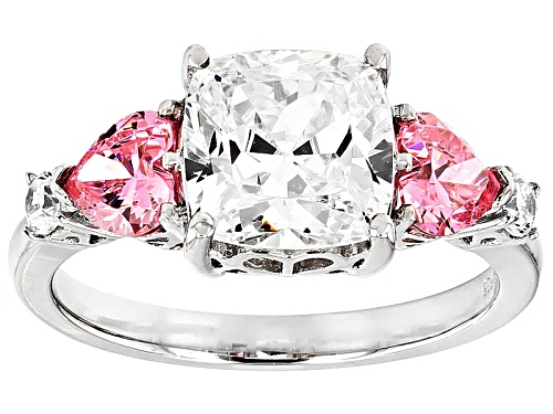 Photo of Bella Luce ® 6.92ctw Pink & White Diamond Simulants Rhodium Over Silver Heart Ring (3.04ctw Dew) - Size 11