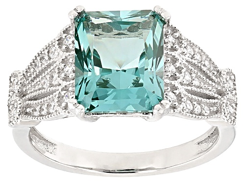 Photo of Bella Luce®4.07ctw Caribbean Green™ Lab Created Spinel And Diamond Simulant Rhodium Over Silver Ring - Size 11