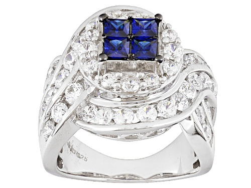Photo of Bella Luce ® 5.87ctw Sapphire & White Diamond Simulants Rhodium Over Sterling Silver Ring - Size 7