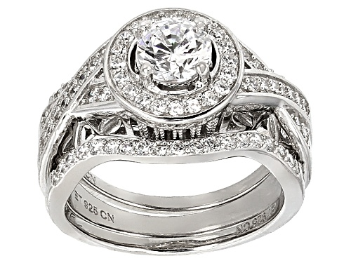 Photo of Bella Luce ® 3.62ctw Diamond Simulant Rhodium Over Sterling Silver Ring With Bands (1.60ctw Dew) - Size 10