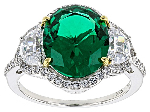 Photo of Bella Luce ® 7.99ctw Emerald And White Diamond Simulants Rhodium Over Sterling Silver Ring - Size 8