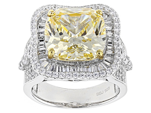 Photo of Bella Luce ® 14.37ctw Canary & White Diamond Simulants Rhodium Over Sterling Ring (8.87ctw Dew) - Size 5
