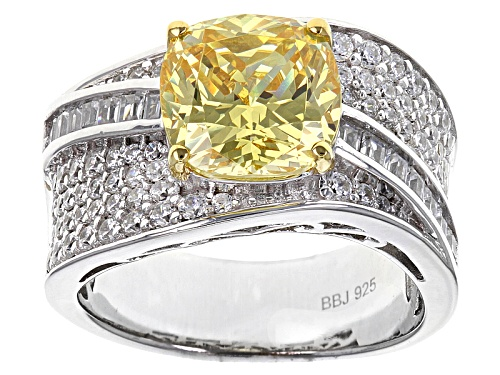 Photo of Bella Luce ® 6.83ctw Canary & White Diamond Simulants Rhodium Over Sterling Ring (4.08ctw Dew) - Size 10