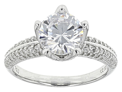 Photo of Bella Luce ® 3.81ctw Diamond Simulant Round Rhodium Over Sterling Silver Ring (2.57ctw Dew) - Size 7
