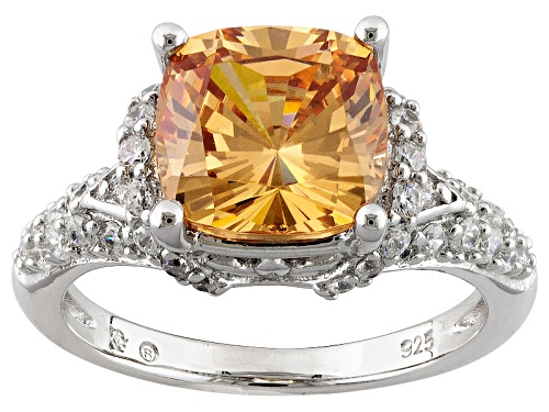 Photo of Bella Luce ® 6.25ctw Champagne & White Diamond Simulant Rhodium Over Sterling Silver Ring - Size 7
