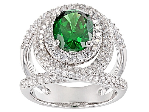 Photo of Bella Luce ® 7.11ctw Emerald And White  Diamond Simulants Rhodium Over Sterling Silver Ring - Size 7