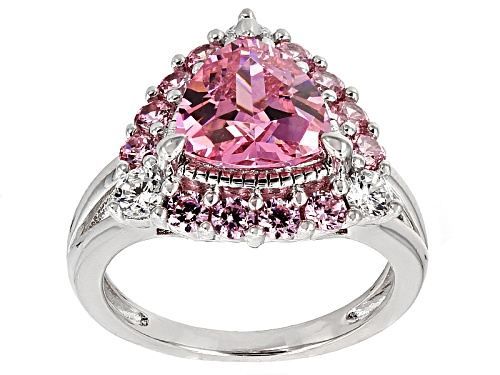 Photo of Bella Luce®5.73ctw Pink & White  Diamond Simulants Rhodium Over Sterling Silver Ring (3.40ctw Dew) - Size 11
