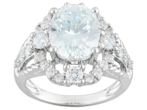 Photo of Bella Luce ® 8.20ctw Diamond Simulant Oval & Round Rhodium Over Sterling Silver Ring(4.79ctw Dew) - Size 9