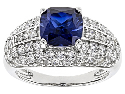 Photo of Bella Luce ® 4.64ctw Lab Created Sapphire And White Diamond Simulants Rhodium Over Sterling Ring - Size 11