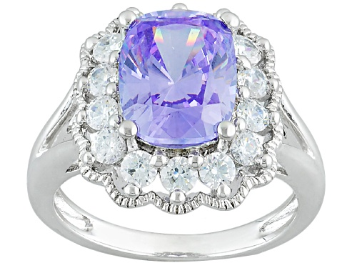 Photo of Bella Luce ® 6.77ctw Lavender & Diamond Simulants Amkor Cut, Rhodium Over Sterling Silver Ring - Size 5