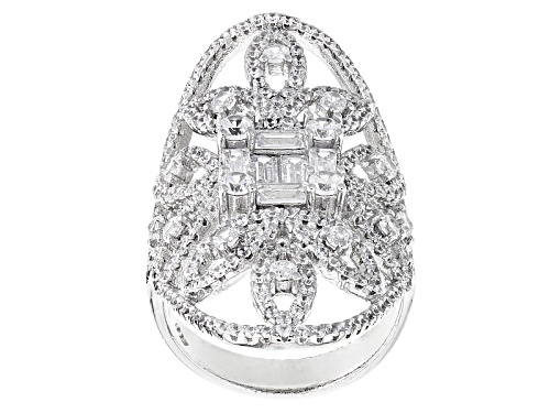 Bella Luce ® 4.92ctw Rhodium Over Sterling Silver Ring (2.58ctw Dew) - Size 7