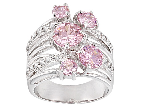 Photo of Bella Luce® 5.73ctw Pink & White Diamond Simulants Rhodium Over Sterling Silver Ring (3.39ctw Dew) - Size 7